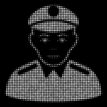 Soldier halftone vector icon. Illustration style is dotted iconic soldier icon symbol on a black background. Halftone grid is round elements. Illustration