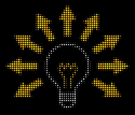 Light bulb halftone vector icon. Illustration style is dotted iconic light bulb icon symbol on a black background. Halftone pattern is sphere points.