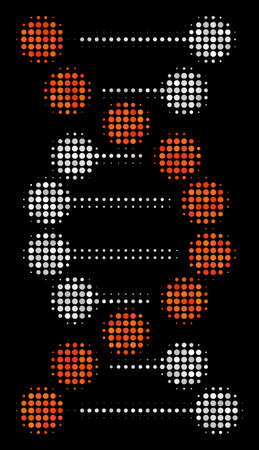 DNA halftone vector icon. Illustration style is dotted iconic DNA icon symbol on a black background. Halftone grid is sphere spots. Ilustração