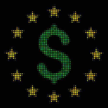 Dollar stars halftone vector pictogram. Illustration style is dotted iconic dollar stars icon symbol on a black background. Halftone matrix is spheric cells. Illustration