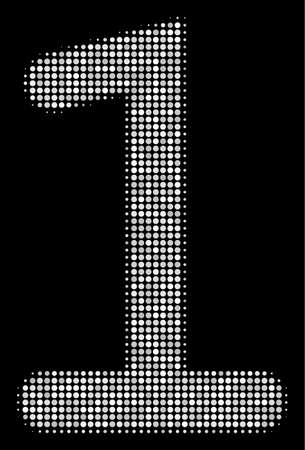 One digit halftone vector pictogram. Illustration style is dotted iconic one digit icon symbol on a black background. Halftone grid is sphere points. Illustration