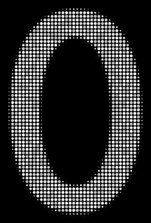 Zero digit halftone vector icon. Illustration style is dotted iconic zero digit icon symbol on a black background. Halftone matrix is round pixels. Иллюстрация