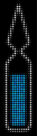 Ampoule halftone vector icon. Illustration style is dotted iconic ampoule icon symbol on a black background. Halftone matrix is round pixels. Ilustracja