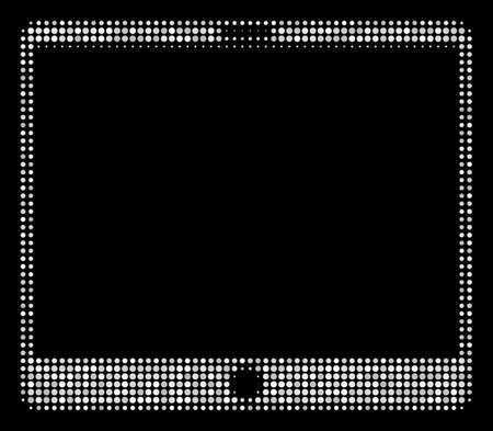 Mobile tablet halftone vector pictogram. Illustration style is dotted iconic mobile tablet icon symbol on a black background. Halftone texture is round spots.