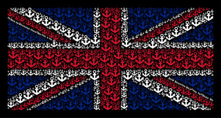 UK State Flag concept combined of anchor icons on a dark background. Vector anchor design elements are organized into mosaic UK flag collage. Illustration