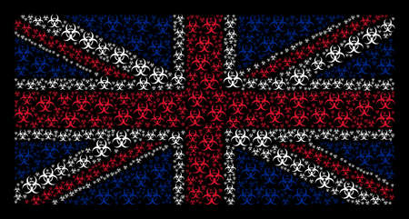 Great Britain Flag concept made of biohazard elements on a dark background. Vector biohazard elements are organized into conceptual Great Britain flag composition.