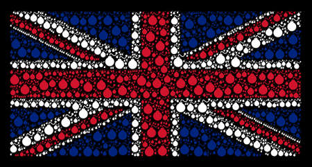 UK Flag composition made of bomb pictograms on a dark background. Vector bomb elements are united into mosaic UK flag composition.