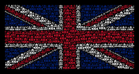 United Kingdom State Flag collage composed of clock tower pictograms on a dark background. Vector clock tower icons are united into geometric Great Britain flag illustration.