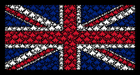 British Flag collage done of component design elements on a dark background. Vector component design elements are composed into mosaic UK flag illustration.