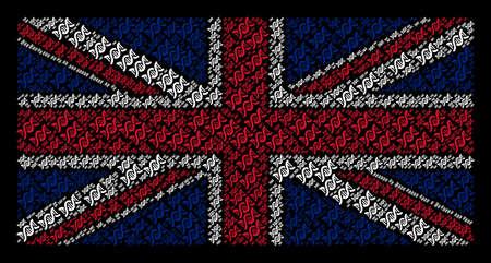 Great Britain State Flag concept designed of DNA spiral elements on a dark background. Vector DNA spiral design elements are combined into conceptual British flag illustration. Ilustração
