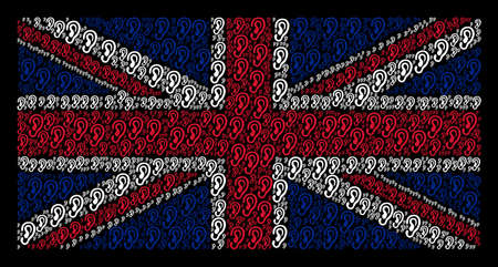 UK Flag mosaic composed of ear elements on a dark background. Vector ear design elements are formed into geometric Great Britain flag composition.
