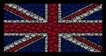 Great Britain Flag composition combined of diamond design elements on a dark background. Vector diamond design elements are organized into conceptual UK flag collage. Illustration
