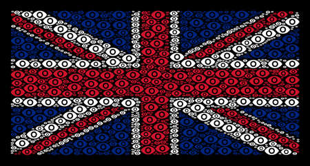 British Flag pattern composed of eye elements on a dark background. Vector eye design elements are combined into mosaic United Kingdom flag illustration.