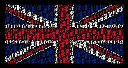 UK Flag pattern organized of death scytheman icons on a dark background. Vector death scytheman icons are combined into mosaic UK flag collage. Illustration