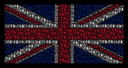 British State Flag pattern constructed of exit direction icons on a dark background. Vector exit direction icons are formed into geometric UK flag composition.