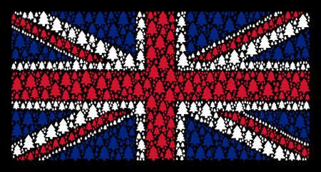 Great Britain Flag pattern created of fir-tree elements on a dark background. Vector fir-tree design elements are united into conceptual United Kingdom flag composition.