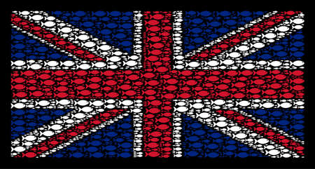 English Flag composition designed of fish pictograms on a dark background. Vector fish icons are united into mosaic British flag composition.