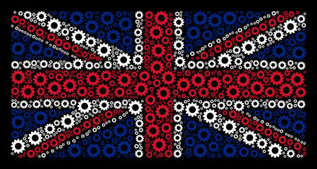 Great Britain State Flag mosaic created of gear pictograms on a dark background. Vector gear items are formed into mosaic British flag composition.
