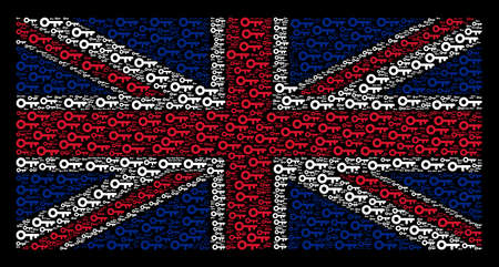 English State Flag concept combined of key elements on a dark background. Vector key elements are combined into conceptual UK flag collage. Illustration