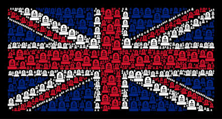 United Kingdom State Flag pattern created of grave icons on a dark background. Vector grave icons are organized into mosaic Great Britain flag composition. 일러스트