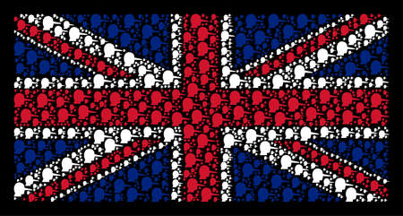 British Flag concept constructed of lier pictograms on a dark background. Vector lier items are combined into geometric British flag collage.