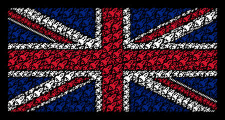 Great Britain Flag pattern organized of space rocket launch design elements on a dark background. Vector space rocket launch design elements are composed into conceptual United Kingdom flag pattern.