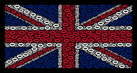 United Kingdom State Flag pattern done of sexy lips icons on a dark background. Vector sexy lips pictograms are united into mosaic UK flag collage.