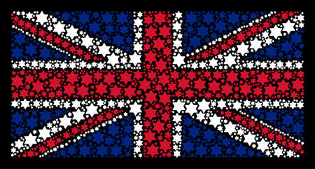 UK State Flag concept designed of six pointed star icons on a dark background. Vector six pointed star items are formed into geometric United Kingdom flag pattern.