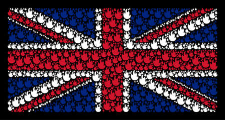 UK State Flag concept organized of fire flame pictograms on a dark background. Vector fire flame design elements are united into mosaic English flag pattern.