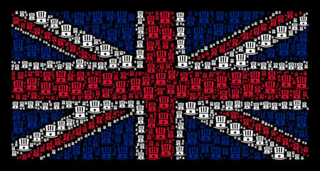Great Britain Flag mosaic designed of Uncle Sam hat pictograms on a dark background. Vector Uncle Sam hat items are formed into conceptual United Kingdom flag pattern.
