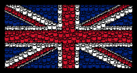 British State Flag pattern designed of vial elements on a dark background. Vector vial pictograms are united into geometric British flag collage. Vektorové ilustrace