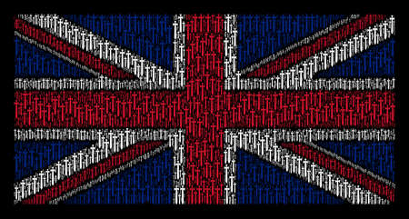 UK Flag mosaic made of medieval sword pictograms on a dark background. Vector medieval sword design elements are organized into conceptual UK flag pattern.