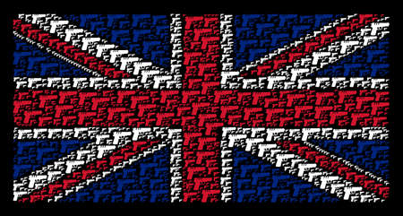 Great Britain Flag concept combined of pistol gun elements on a dark background. Vector pistol gun items are organized into conceptual English flag collage. Illustration