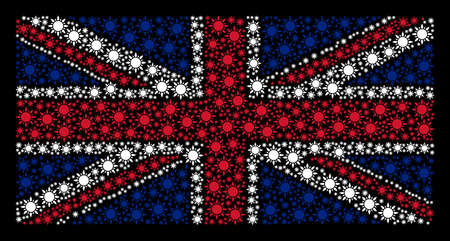 UK Flag mosaic designed of sun pictograms on a dark background. Vector sun elements are formed into geometric English flag composition.