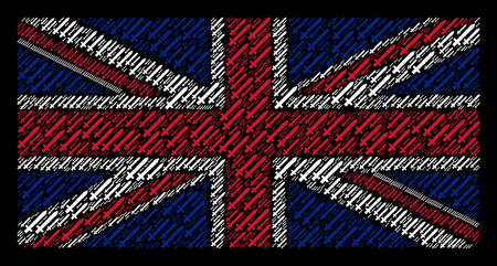 Great Britain Flag mosaic made of sword elements on a dark background. Vector sword elements are formed into conceptual UK flag composition.