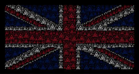United Kingdom State Flag pattern created of total control eye piramide design elements on a dark background.