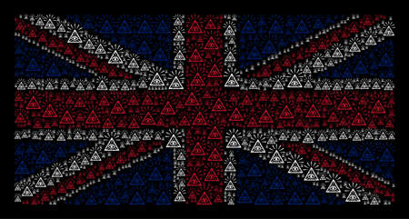Great Britain Flag pattern combined of total control eye pyramid pictograms on a dark background. Vector total control eye pyramid icons are composed into conceptual Great Britain flag composition.