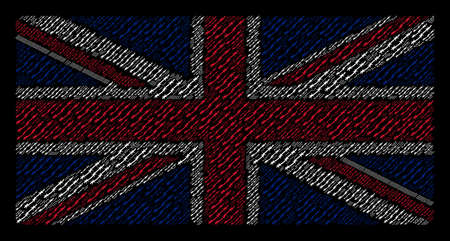 British Flag composition done of barbed wire elements on a dark background. Vector barbed wire pictograms are combined into geometric English flag composition.