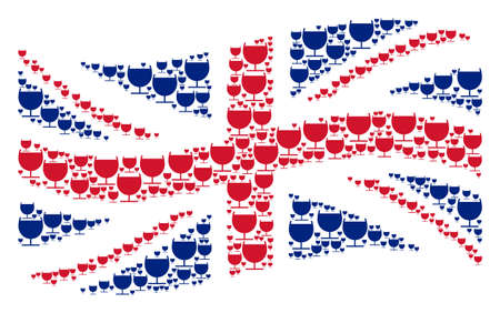 Waving Great Britain flag concept designed of alcohol glass elements. Vector alcohol glass pictograms are composed into mosaic UK flag abstraction. Illustration