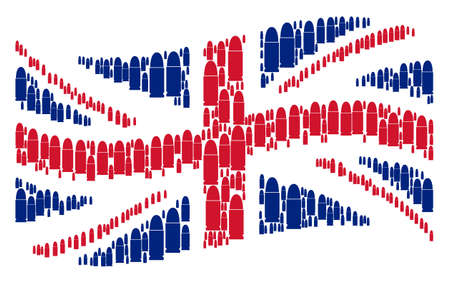 Waving UK state flag collage organized of ammo bullet pictograms. Vector ammo bullet design elements are composed into conceptual UK flag abstraction.
