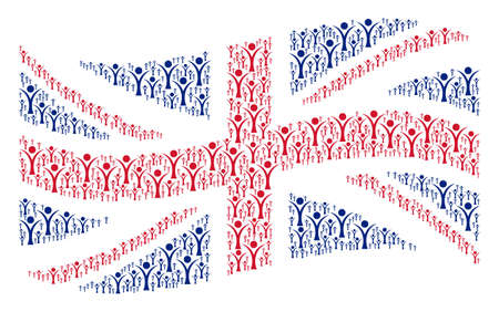 Waving English flag collage organized of abstract man design elements. Vector abstract man design elements are formed into conceptual United Kingdom flag collage.