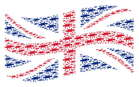 Waving Great Britain state flag pattern designed of barbed wire pictograms. Vector barbed wire design elements are united into mosaic Great Britain flag composition.