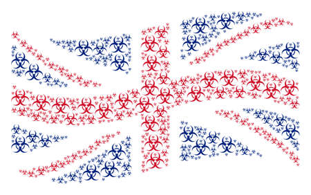 Waving UK official flag pattern organized of biohazard pictograms. Vector biohazard items are combined into conceptual British flag abstraction.