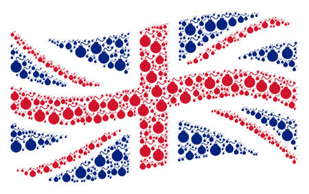 Waving United Kingdom state flag pattern created of bomb design elements. Vector bomb pictograms are organized into conceptual UK flag abstraction.