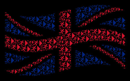 Waving English state flag pattern constructed of exit direction icons. Vector exit direction design elements are combined into mosaic United Kingdom flag collage.