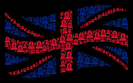 Waving UK flag collage combined of grave design elements. Vector grave pictograms are united into conceptual English flag abstraction.