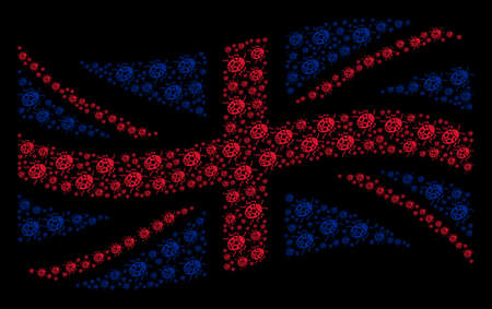 Waving United Kingdom state flag mosaic combined of ladybird bug elements. Vector ladybird bug items are organized into mosaic Great Britain flag collage.
