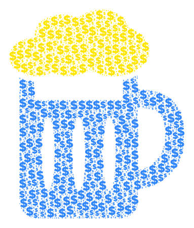 Beer glass mosaic of dollars and round dots. Vector dollar pictograms are united into beer glass composition.