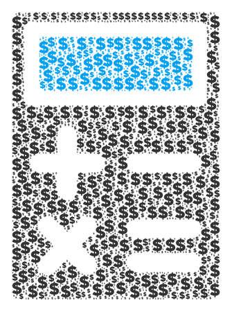 Calculator made of dollars and circle dots. Illustration