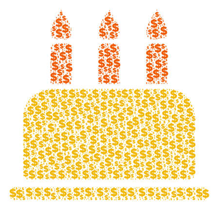 Birthday cake mosaic of dollars and sphere spots. Vector dollar currency symbols are grouped into birthday cake illustration.